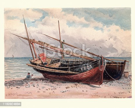 Vintage painting of French fishing boats, Etretat, 19th Century, by Walter William May