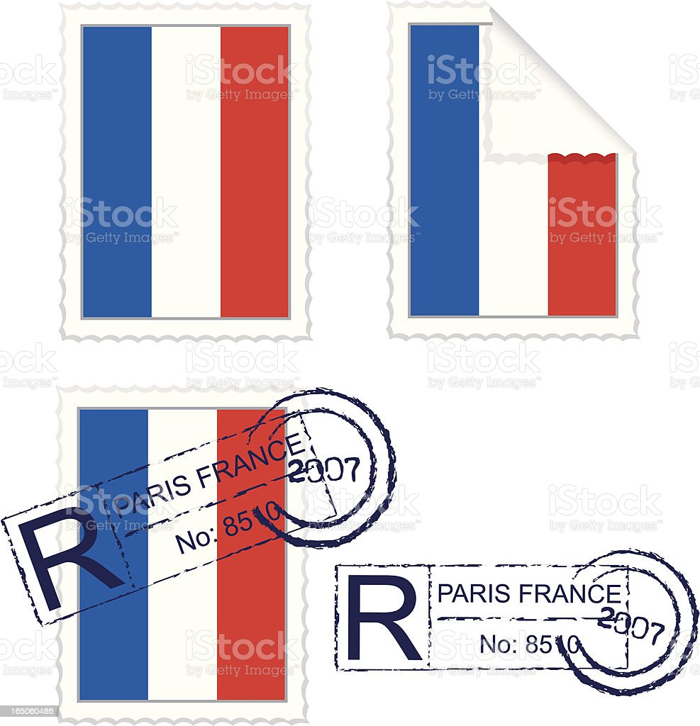 French Flag Stamp Set royalty-free french flag stamp set stock vector art & more images of all european flags