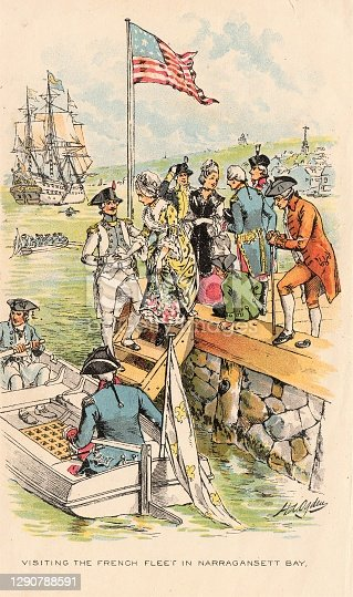 Women and men visit a French ship in Narragansett Bay in the 17th Century. Illustration published in The New Eclectic History of the United States by M. E. Thalheimer (American Book Company; New York, Cincinnati, and Chicago) in 1881 and 1890. Copyright expired; artwork is in Public Domain.