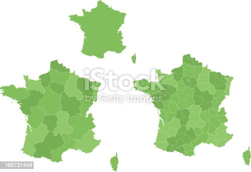 3 versions of an isolated map of France.