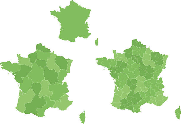 French map with regions. vector art illustration