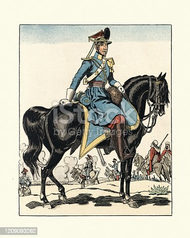 istock French military uniforms 1830s, light cavalry, Chasseur d'Afrique 1209093262