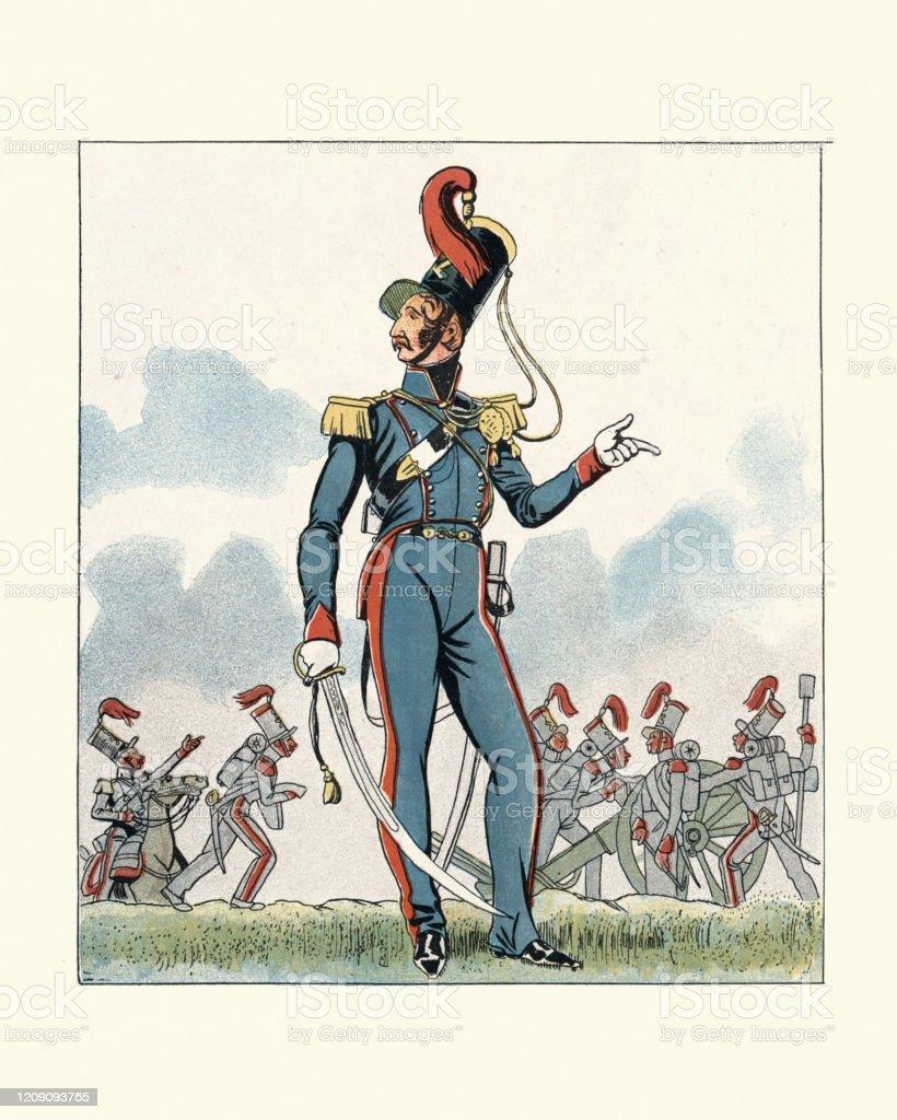 フランス軍の制服1830年代マウントされた砲兵将校 - 19世紀のベクター ...