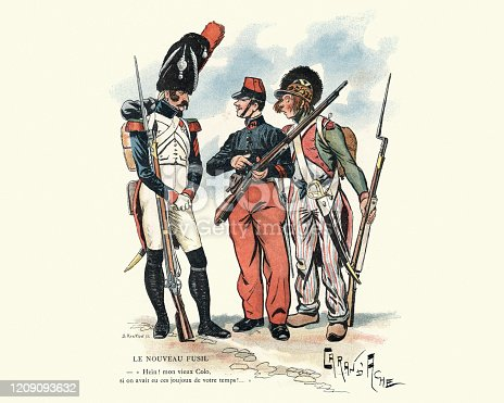 Vintage engraving of French military uniforms 18th and 19th Century. Le nouveau fusil (The new rifle). Hein ! mon vieux Colo, si on avait eu ces joujoux de votre temps ! (Huh! old Colo, if we had had these toys of your time!)