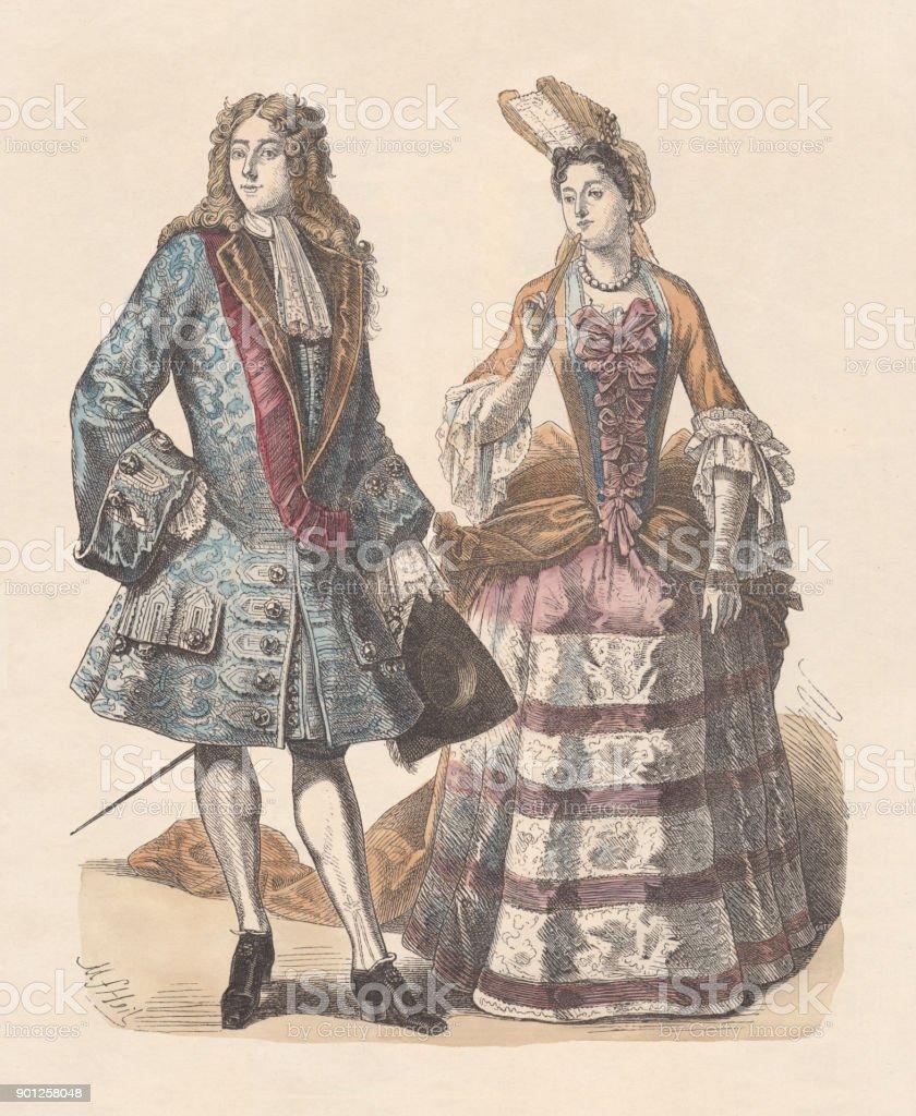 Franska Adeln Publicerade Tidigt 1900tal Handfärgade Trä Gravyr ... 01a8b86c54e41