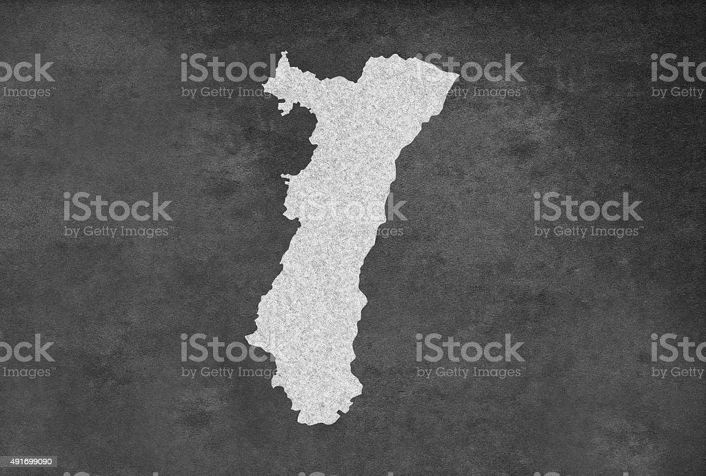 French région de l'Alsace carte contour sur un tableau noir - Illustration vectorielle