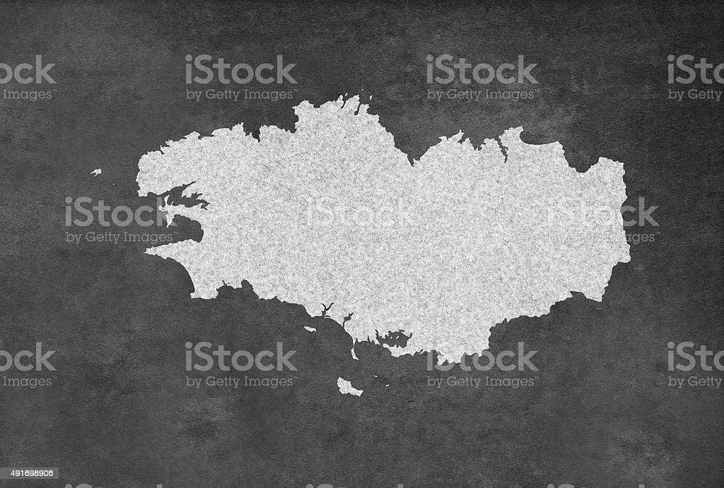 French région de Bretagne carte contour sur un tableau noir - Illustration vectorielle