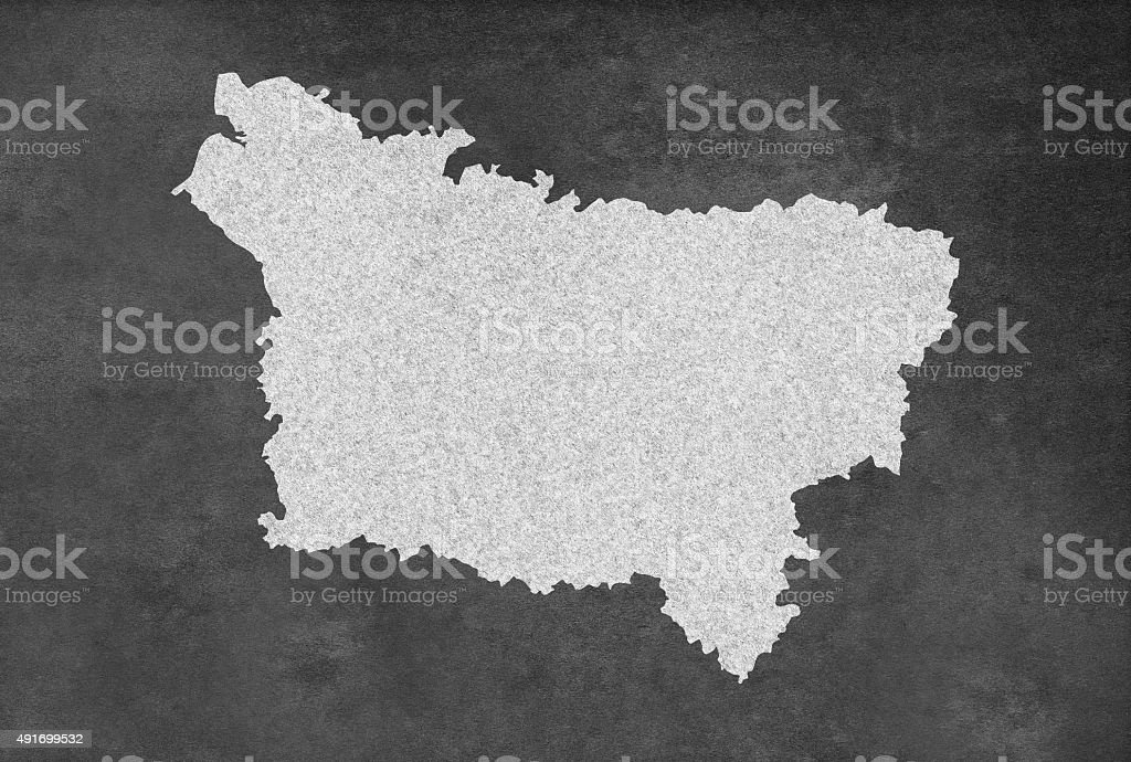 French Region of Picardie Map Outline on an Blackboard vector art illustration