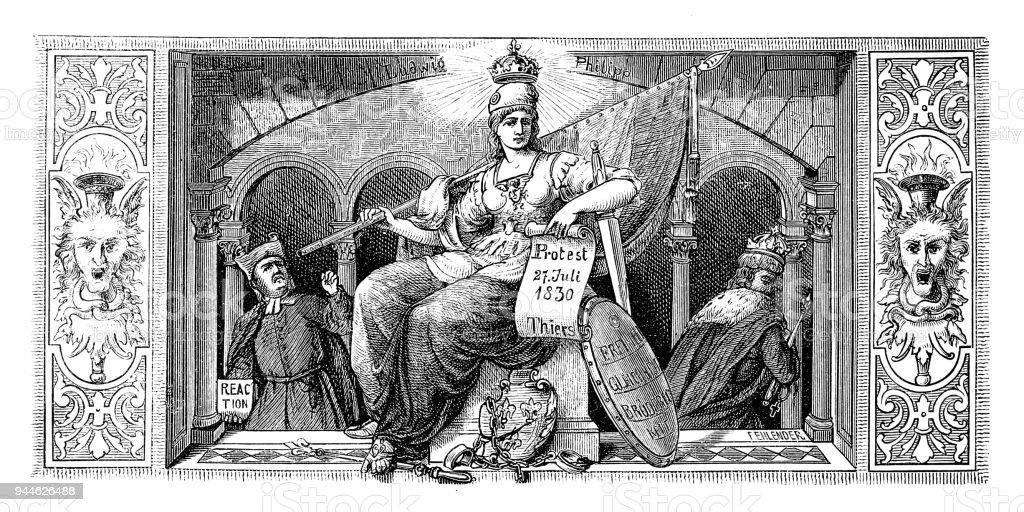 French Republic - 19th century vector art illustration