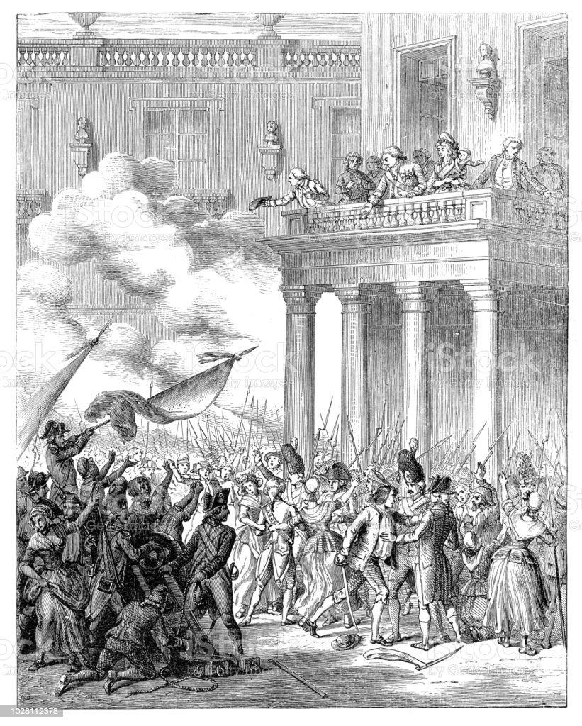Français la révolution roi Louis XVI s'adressant à la population de Paris - Illustration vectorielle