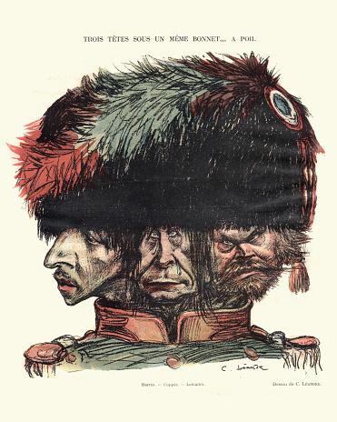 French satirical cartoon - Three heads under one hat