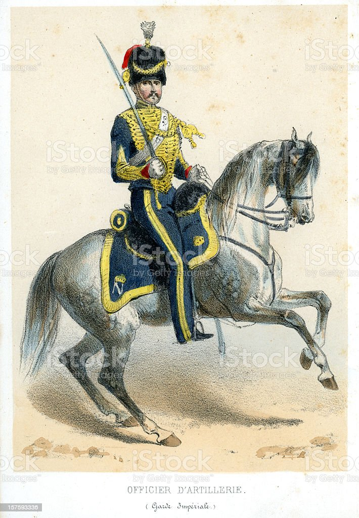 French soldiers of the 19th century vector art illustration