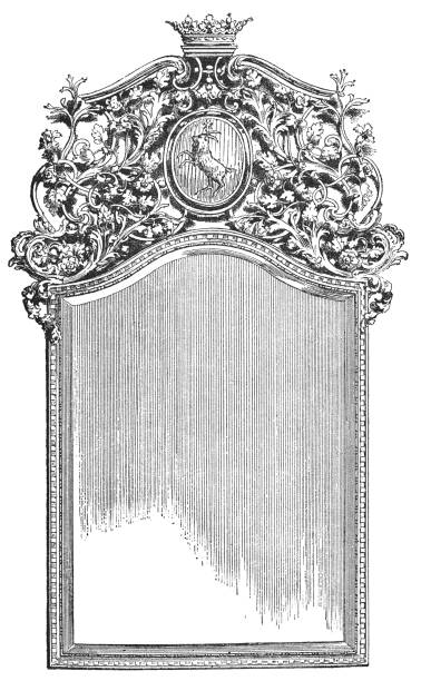 French style Mirror in Wrought-iron Frame (16th Century) vector art illustration