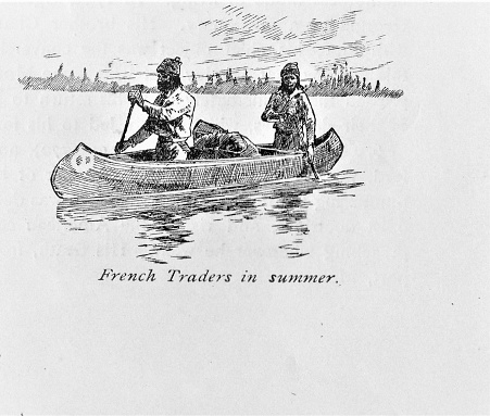 French Traders paddle a canoe. Illustration published in The New Eclectic History of the United States by M. E. Thalheimer (American Book Company; New York, Cincinnati, and Chicago) in 1881 and 1890. Copyright expired; artwork is in Public Domain.