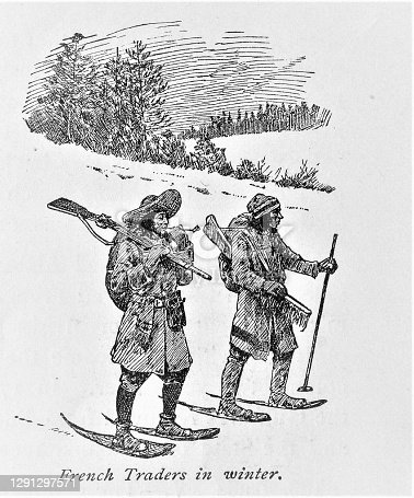 istock French Traders on Snowshoes, North American History 1291297571