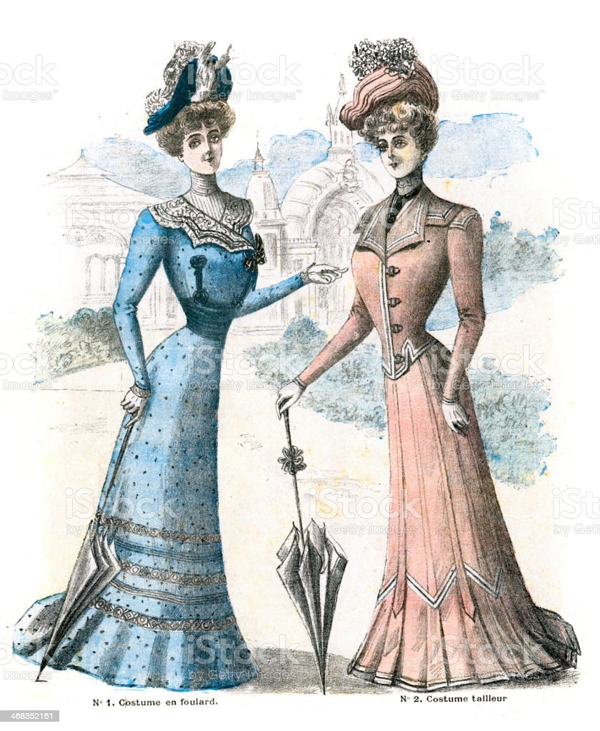 French Womens Fashion 1900 royalty-free french womens fashion 1900 stock vector art & more images of 19th century