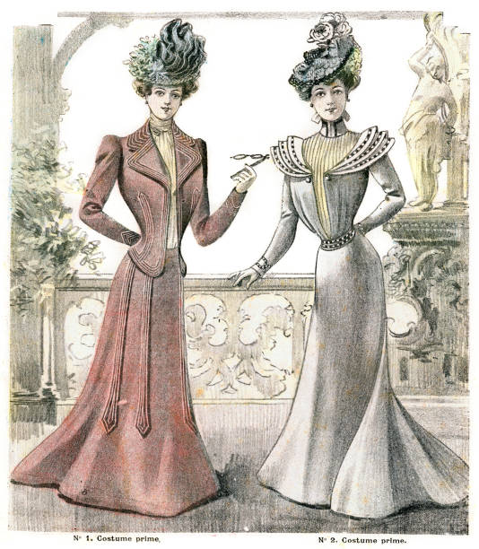 French Womens Fashion 1900 Vintage engraving of womens fashions, France, 1900 edwardian style stock illustrations