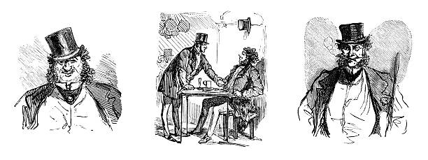 frenchmen in top hats - old man smoking cigar stock illustrations, clip art, cartoons, & icons