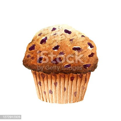 istock Fresh appetizing muffin with blueberry isolated on white background 1272912325