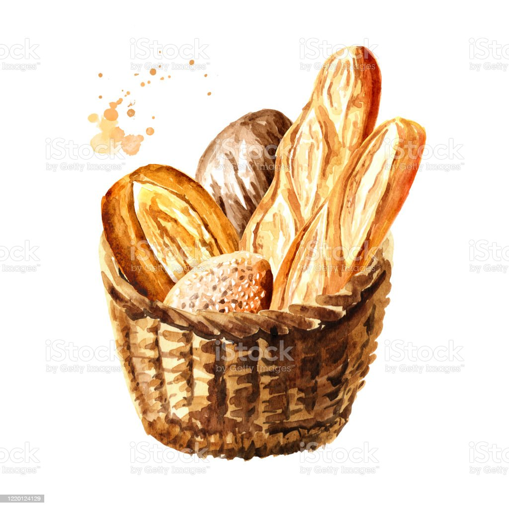 Fresh Bread In The Basket Hand Drawn Watercolor Illustration Isolated On White Background Stock Illustration Download Image Now Istock