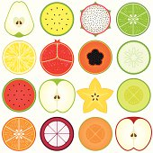 Fresh, Cute Vegetable, fruit cut in half (vector Icons) Set#4