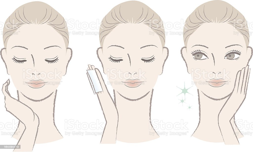 Fresh cute woman applying facial lotion on the face vector art illustration
