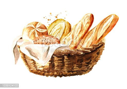 Fresh pastries in the basket. Hand drawn watercolor, illustration isolated on white background