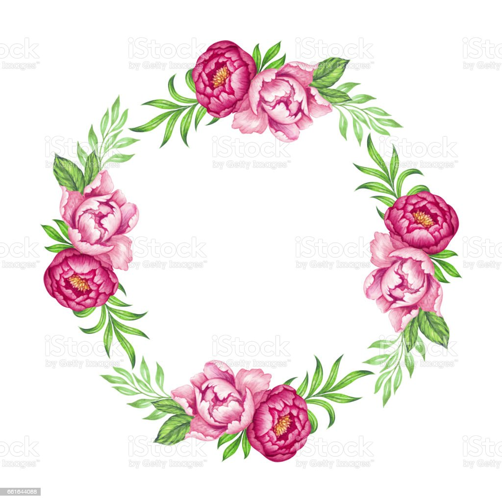 Fresh pink peony round wreath rose and green leaves watercolor fresh pink peony round wreath rose and green leaves watercolor flowers bouquet illustration izmirmasajfo