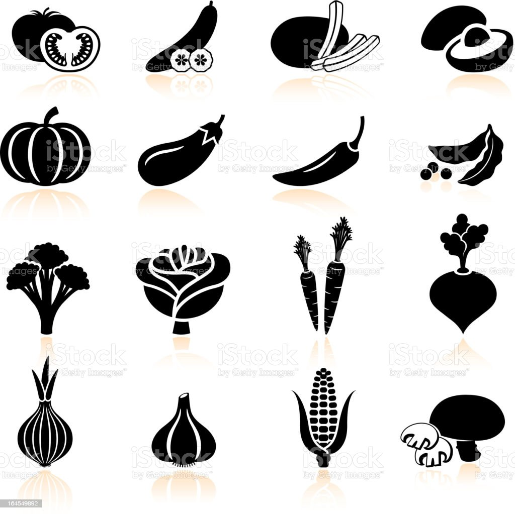 Fresh produce and vegetables black & white icon set vector art illustration