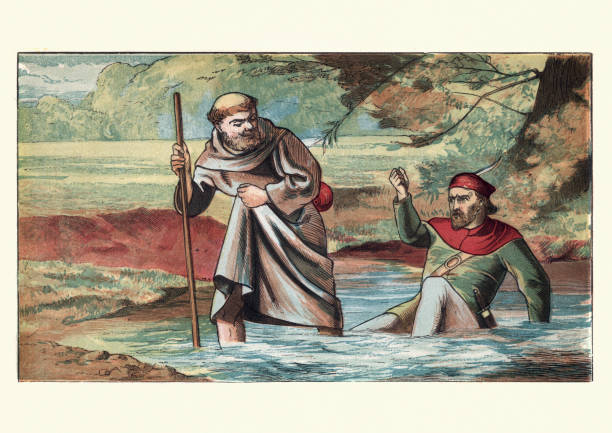 Friar Tuck and Robin Hood Vintage engraving of Friar Tuck and Robin Hood. In many tales, Tuck's first encounter with Robin results in a battle of wits in which first one and then the other gains the upper hand and forces the other to carry him across a river. This ends in the Friar tossing Robin into the river. friar stock illustrations