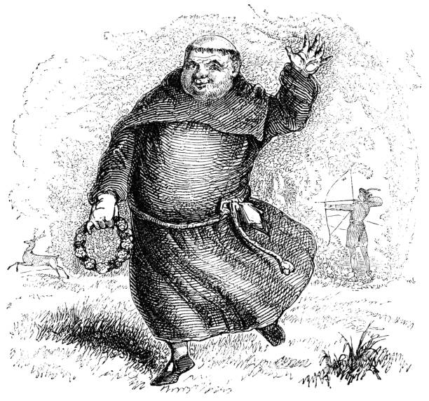 Friar Tuck from a Robin Hood Ballad - 15th Century Friar Tuck as represented in a Robin Hood Ballad (circa 15th century) from the Works of William Shakespeare. Vintage etching circa mid 19th century. friar stock illustrations