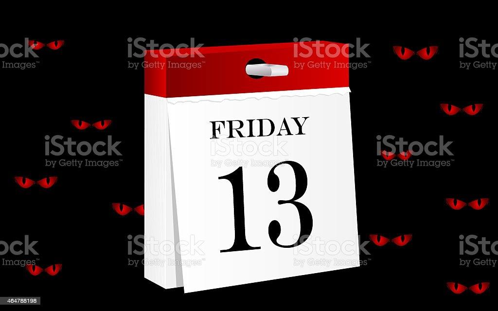 Friday 13th calendar vector art illustration