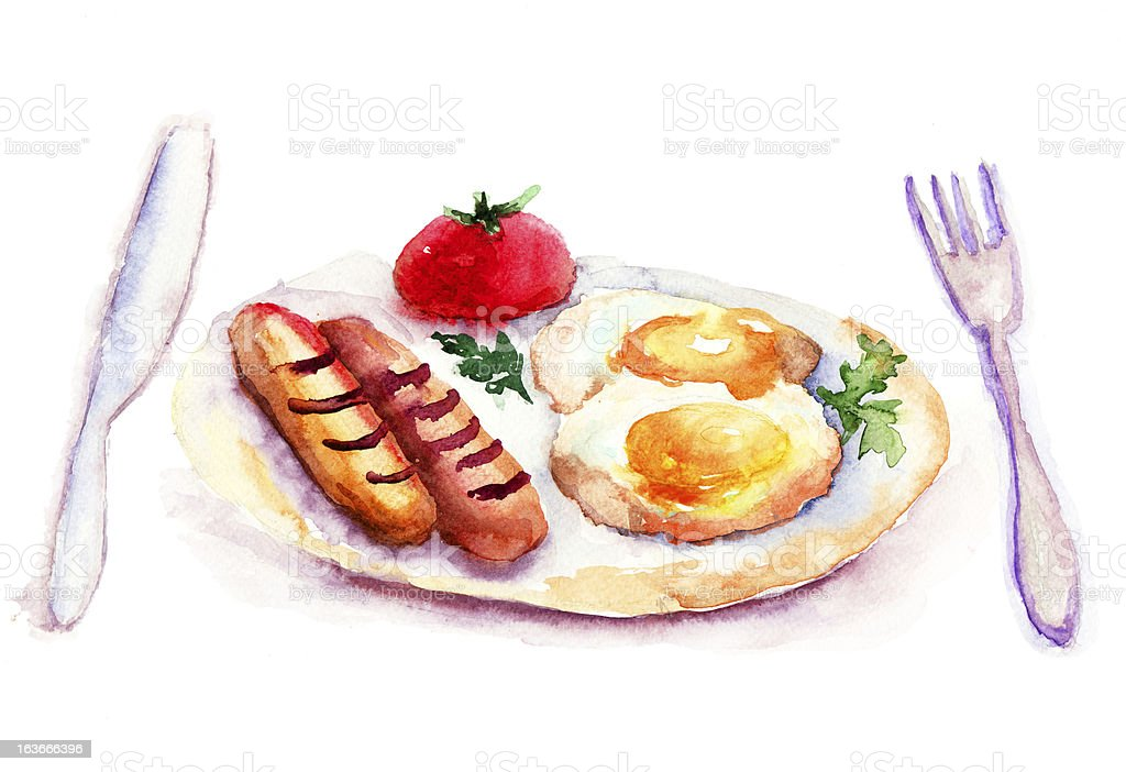 Fried eggs with sausages royalty-free fried eggs with sausages stock vector art & more images of breakfast