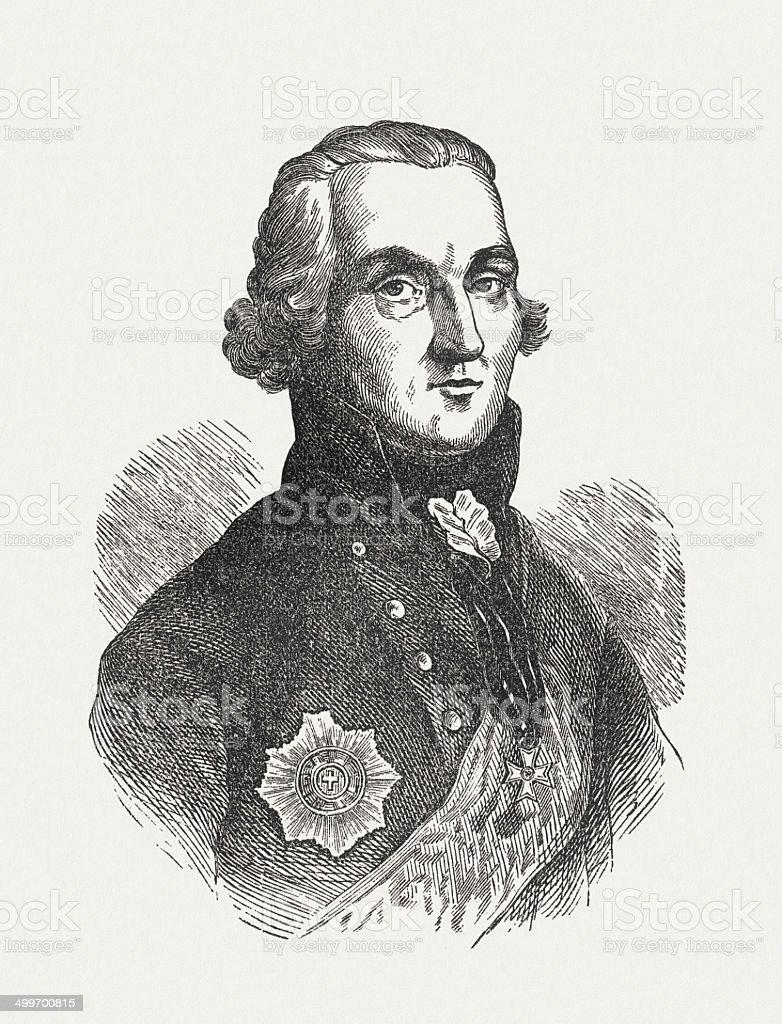 Friedrich Maximilian Klinger (1752-1831), German poet, wood engraving, published 1871 royalty-free stock vector art