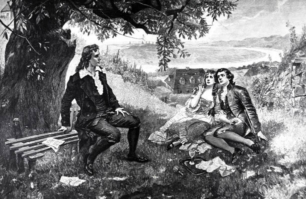 Friedrich Schiller sitting on a bench under a tree in Loschwitz, a couple listening to him vector art illustration