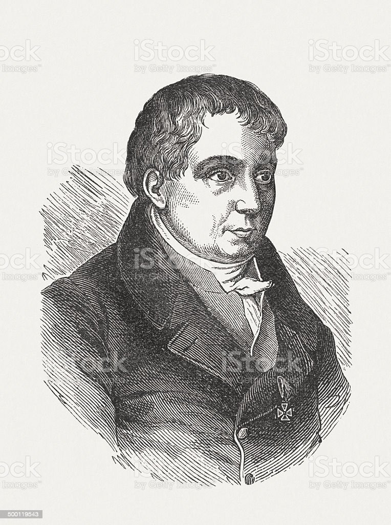 Friedrich Schlegel, (1772-1829), German philosopher, wood engraving, published in 1871 royalty-free stock vector art