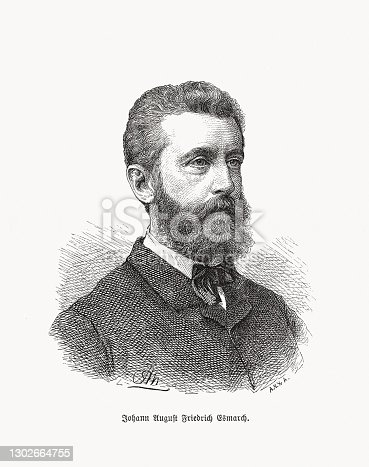 Johannes Friedrich August von Esmarch (1823 - 1908) - German surgeon. He developed the Esmarch bandage and founded the Deutscher Samariter-Verein, the predecessor of the Deutscher Samariter-Bund. Wood engraving, published in 1893.