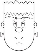 Halloween frankenstein mask suitable for children. Print out, cut out and color in, perfect for trick or treating.