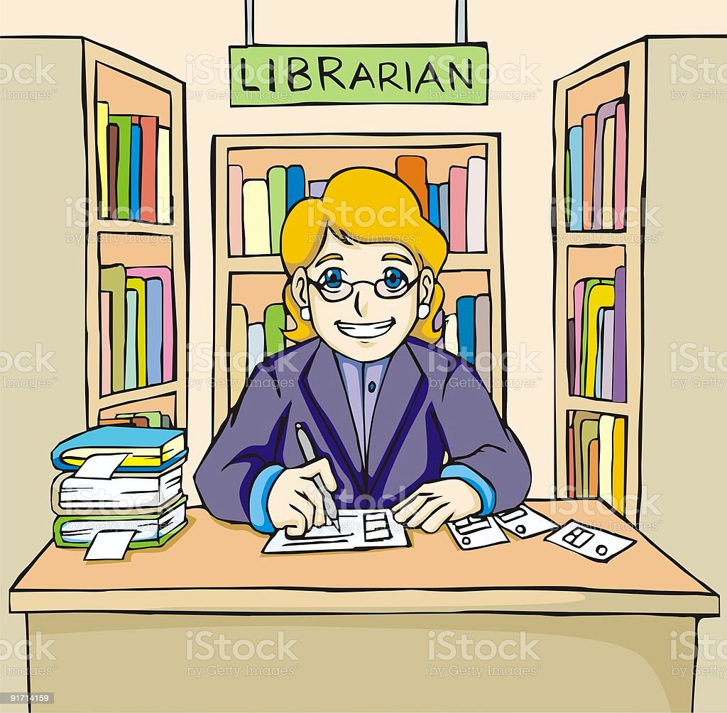 Friendly Librarian royalty-free stock vector art