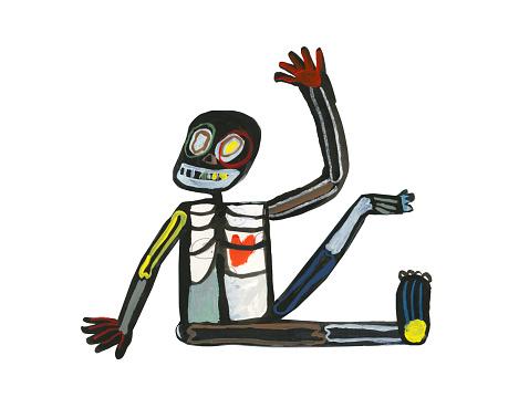 Friendly skeleton waving hello