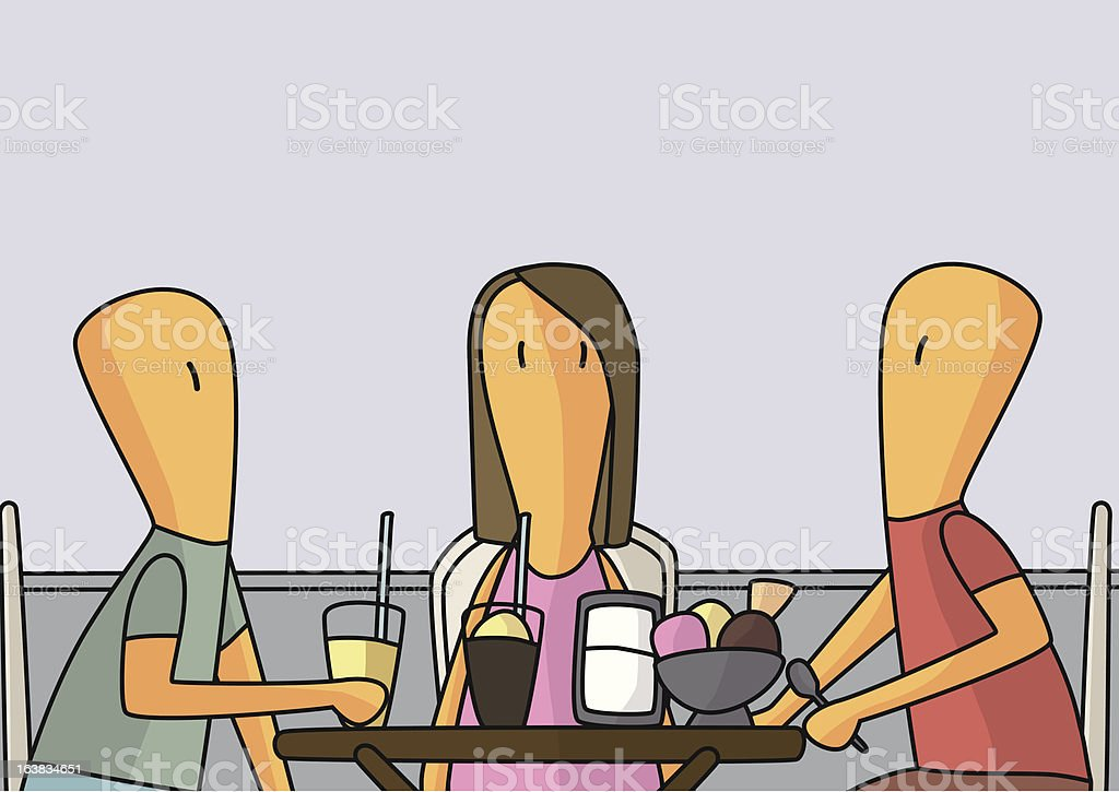 Friends having an ice cream on a summer terrace. royalty-free stock vector art