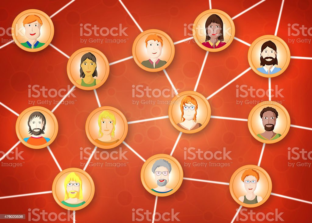 Friends social network, connected people, cartoon style vector art illustration