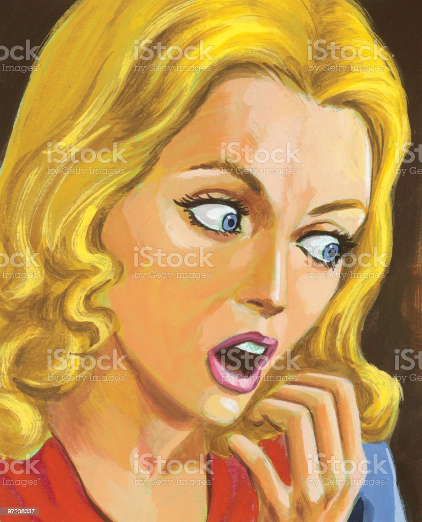Frightened Blonde Woman royalty-free stock vector art