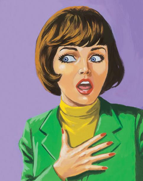 ilustrações de stock, clip art, desenhos animados e ícones de medo de mulher - mão no peito
