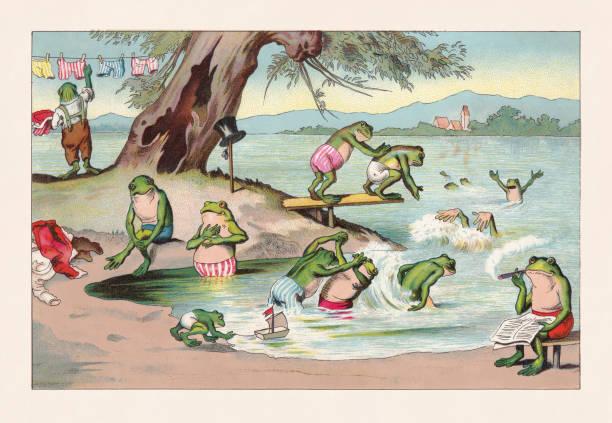 Frog bath, nostalgic animal caricature, chromolithograph, published in 1888 Frog bath, nostaalgic animal caricature. Chromolithograph after a drawing, published in 1888. lakeshore stock illustrations