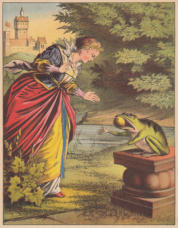 Frog King (German: Froschkönig), fairy tale, lithograph, published 1875