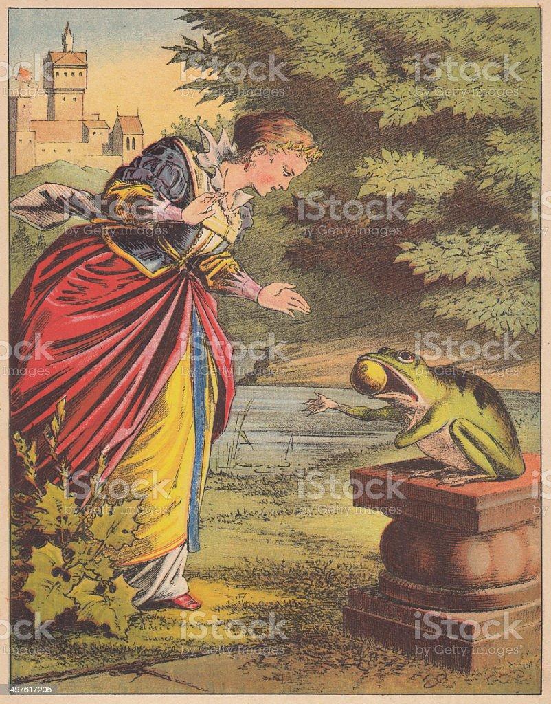 Frog King (German: Froschkönig), fairy tale, lithograph, published 1875 vector art illustration