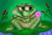 Frog on a water lily leaf waiting for love