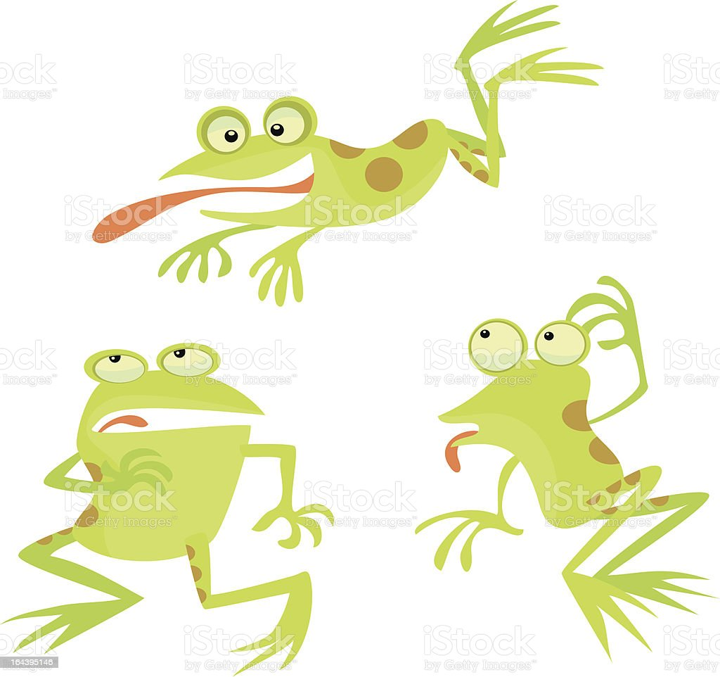 Frogs in Funny Poses vector art illustration