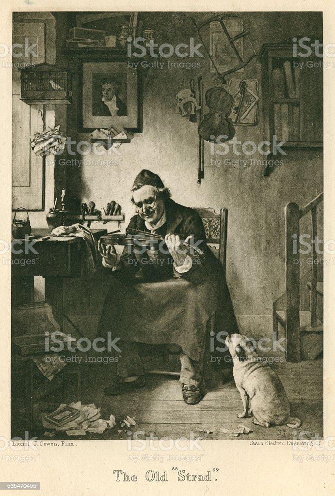 The Old Strad violin maker's workshop music engraving vector art illustration